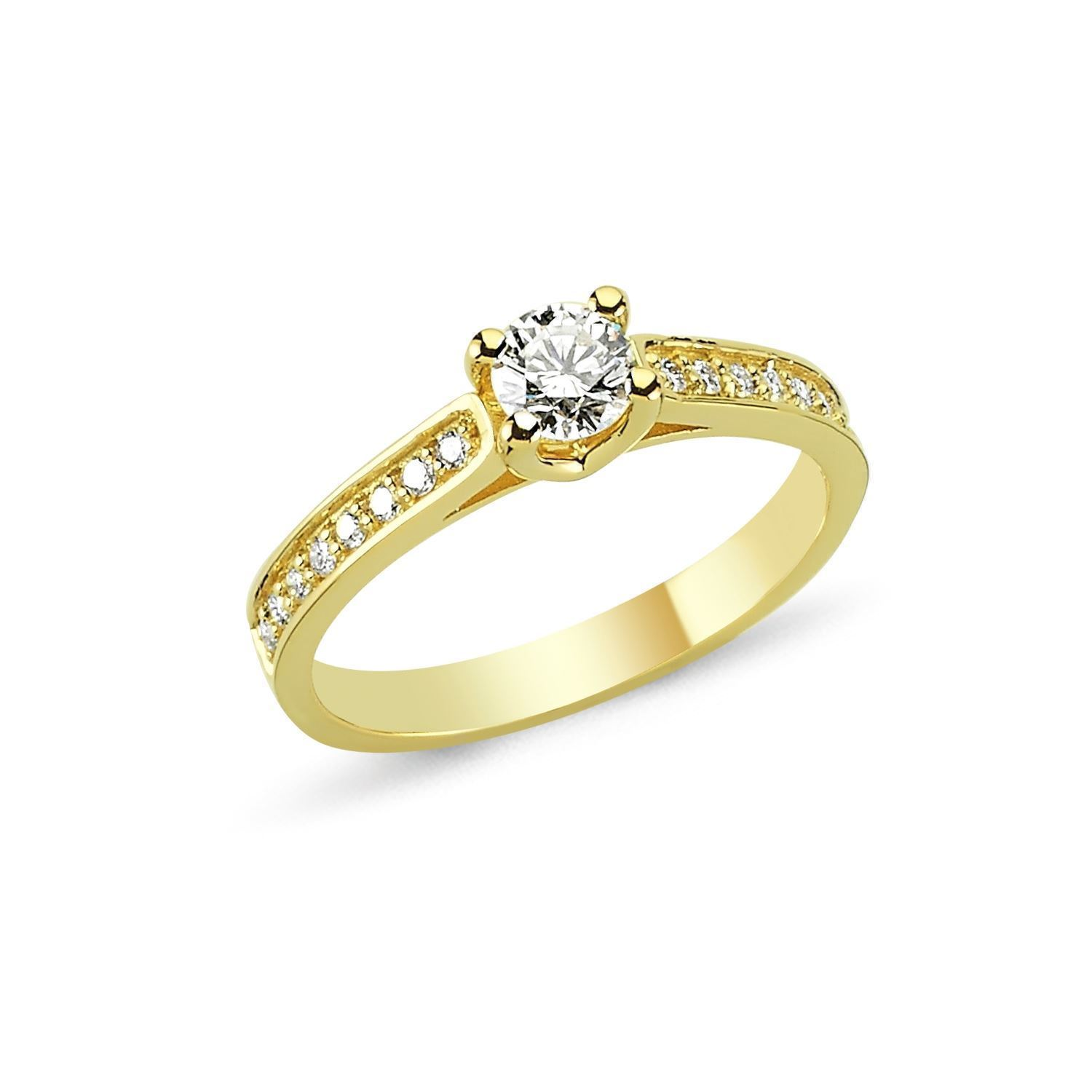 Nuran Bella solitaire ring i 14 karat guld med 0,15 - 0,43 ct diamanter