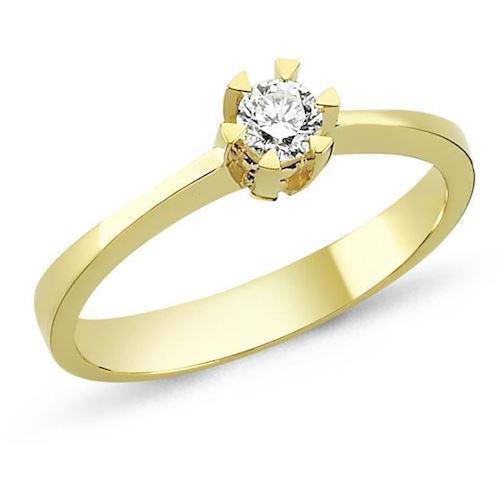 Nuran STAR solitaire ring i 14 karat guld med 0,03-0,20 ct diamanter
