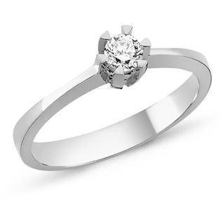 Nuran STAR solitaire ring i 14 karat hvidguld med 0,03-0,20 ct diamanter