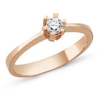 Nuran STAR solitaire rosa ring i 14 karat guld med 0,03-0,20 ct diamanter